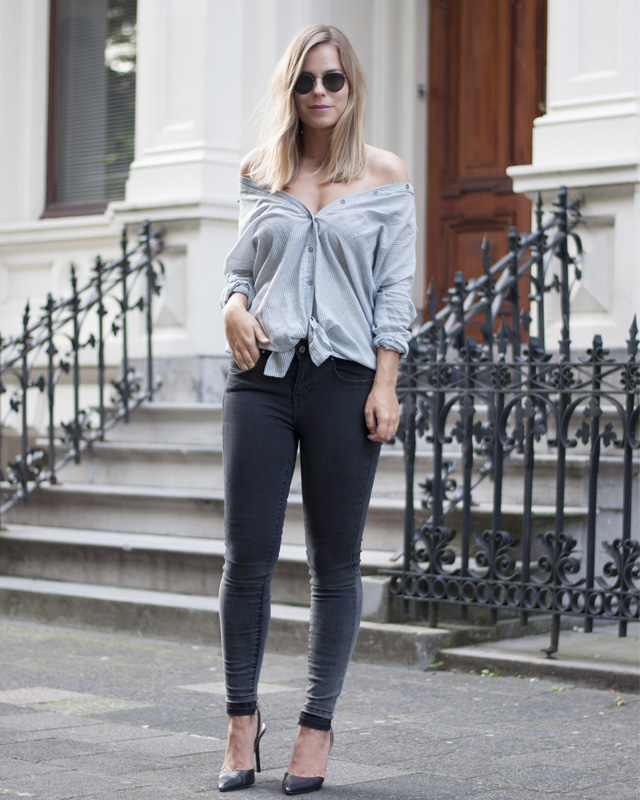 Off the shoulder button-down | Style by Jules