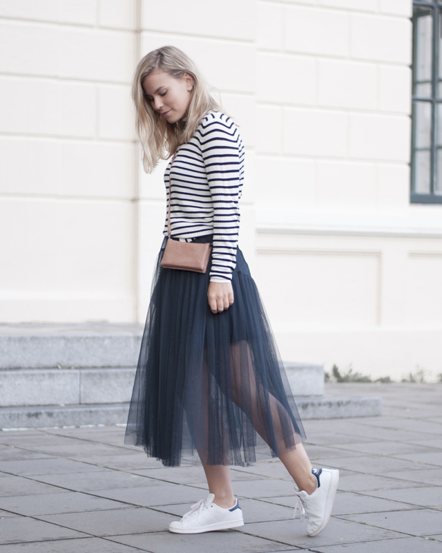 Sneakers and a tulle skirt