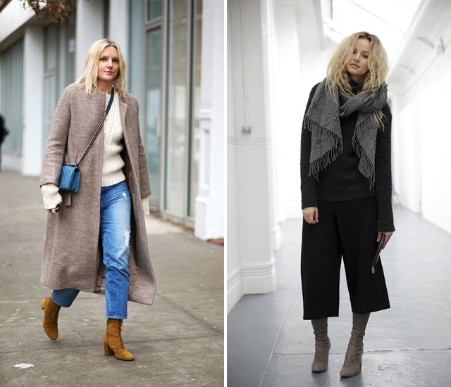 Two different ways to wear cropped trousers in winter ...