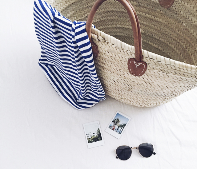 Instagram, instant, summer, stripes, straw bag, straw tote, polaroid, style by jules, fashion, flatlay, fashion blogger