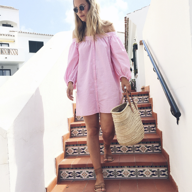 Instagram, girl, fashion blogger, style by jules, holidays, pink, stripes, zara dress, off shoulder, summer dress, summer style, straw bag, street style