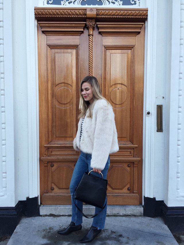 OOTD, outfit, Instagram, outfit of the day, faux fur, street style, Dutch, stripes, denim, winter, fashion blogger, Style by Jules