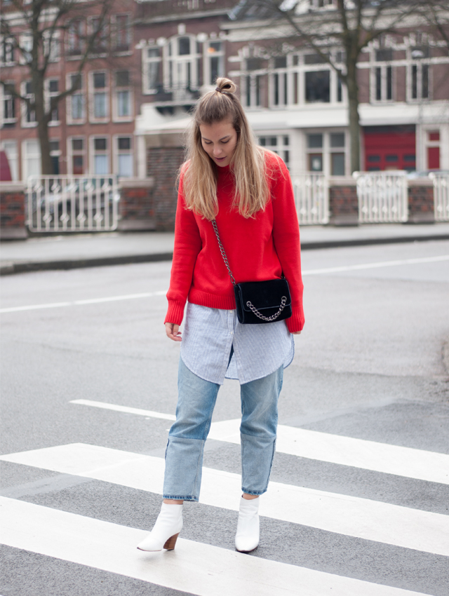 Red, street style, red jumper, colour, more colour, fashion, women fashion, fashion blogger, trends, spring, Style by Jules