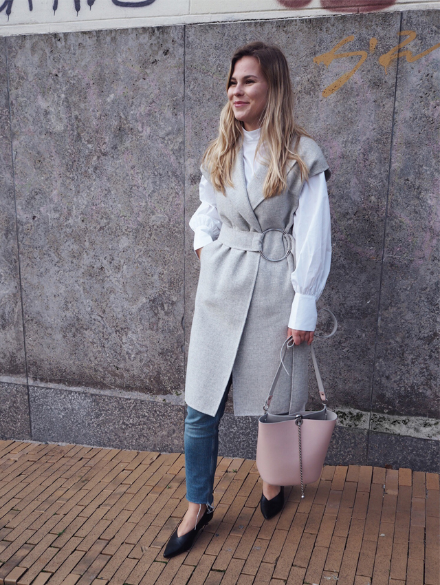 Spring layering outfit with pink ZARA bag