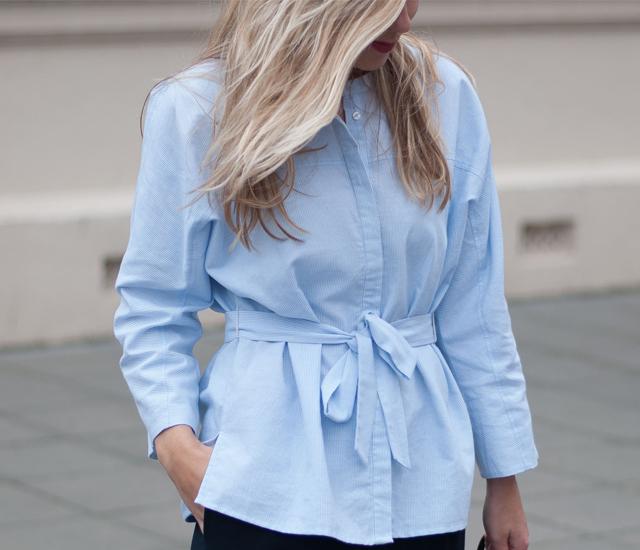 Workwear outfit VILA tie-waist shirt